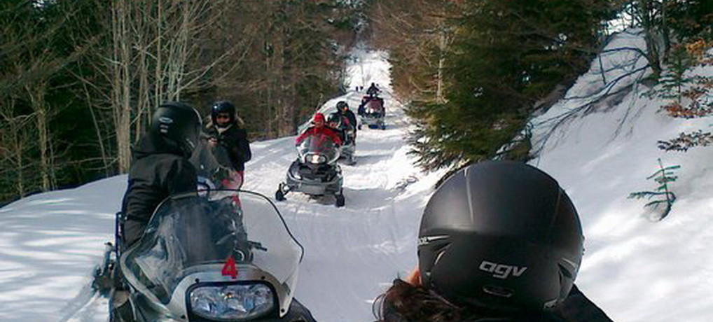 Winter safari on snowmobile